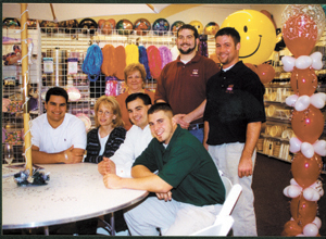 L to R (front row):  Tony Stefanek, sales rep.; Cathy Gibson, Office mgr., Joe Stefanek, president; Jesse Ringen, Tent Dept. mgr. (back row):  Kathy James, Party Planner & Decorator; Jeff Bierbaum, sewing mgr.;  Phil Furnas, General mgr.