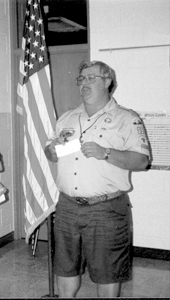 Scoutmaster Fox addressing Troop #38 at a Monday night meeting.