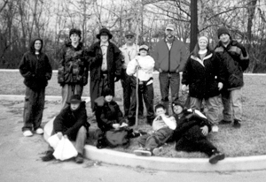 Boy Scout Troup 38 taking a rest after hosting a hike for Cub Scout Pack 3038's Webelos Scouts last February. The Webelos Scouts needed the hike to complete requirements for the Arrow Of Light Award.