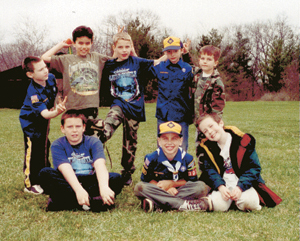 Cub Scout Pack 3038 having fun during Family Camp at Camp Chief Little Turtle.  L to R/front to back row: Brandon Meuchel, Matt Van Horn, Joshua Meske, Nicholas Jackson, Dalton Kline, Paul Pollock, Zachary Zwick, and Austin Kline.    Check out more Scouting pictures on page 6!