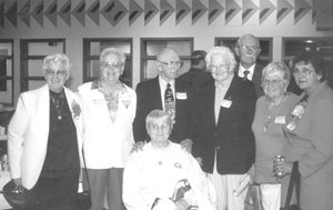 Denver Howard & company (The Daisies) Fort Wayne Baseball Hall of Fame Banquet  Friday, May 24, 2002 L-R Vivian Kellogg, Dottie Collins, Denver Howard, Fran Jansen, Dan Schroeder, Isabel 'Lefty' Alvarez, Jean Harding,  Front, Whimp Baumgartner