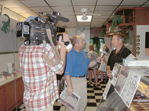 TV 33's Mark in the Morning doing a live interview with Editor Bob Stark from The Waynedale News.