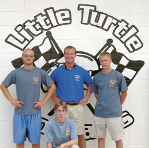 Little Turtle Go-Kart Staff includes Ben Zwick, Scott Pressler, Abe Wedler, and Chris Pressler (front row).