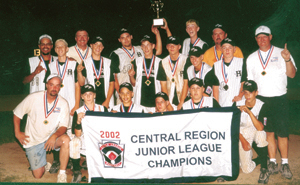 HAMILTON PARK JUNIOR LEAGUE NATIONAL ALL-STARS 2002 Back row: Scorekeeper Brady Medina, President Pete Henry, Holding Trophy #10 A. J. Hill and #94 John Trowbridge, Coach Dave Beckman Middle row: #27 Andrew Weikart, #24 Kevin Merz, #17 Lucas Harmeyer, #1 Brett Bishop, #16 Bryan Sexton, #20 Cortney Kump, Coach Tom Leonard Front row: Manager Tim Stech, #25 Cody Stafford, #7 Nic Sengthong, #2 Miles Townsend, #30 Josh Leonard, #8 Nathan Childers