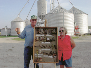Paul Hardy and his wife, Pat will be displaying their collection of corn husking pegs at the Corn Husking Contest in Huntington on October 19 and 20. This special metal hook quickly tears away the husk, exposes the ear, which is then tossed into the wagon.