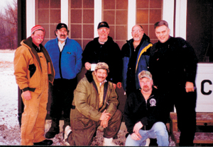 L-R back row:  Randy Furniss, Bruce, Boyd Tarney, Steve Zehr, Rick Zehr. Front row: Dan Madru & Kelly Cearbaugh.
