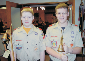 Serving as acolytes on Scout Sunday are (l-r) Karl McOmber Troop #44 and Matthew Long Troop #19.