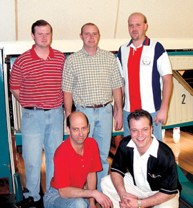 The 'Dreyfus Five' Team winners of the scratch division in the Men's City Bowling Tournament. (l-r) Back row: Scott Shimer, Jeff Shimer, Brent Shimer. Kneeling: Steve Vining and Jeff Dreyfus.