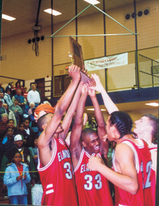 Jubilation!   L-R, James Hardy #34, Chad Edmonds #33, Charles Pearson #32, and John Lauck #22.