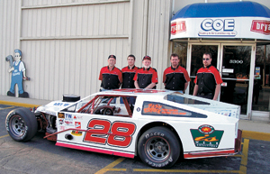 Coe Racing Team: (L-R)  Gary Crossgrove, Matt West, Bob Coe, Scott Coe and Ron West