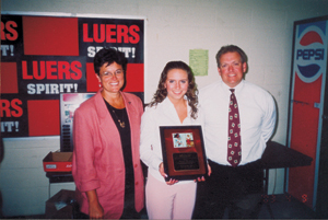 (l-r) Lisa Palmer, Bishop Luers Scholarship recipient Mo Korte, and Mike Palmer