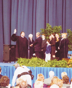 January 8, 2001 Governor Frank O'Bannon being sworn in at the Hoosier Dome during the inauguration.