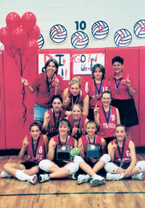 St. Therese Girls Volleyball Team members: 1st Row: Danielle Landon, Andrea Allphin, Jessica Beck,  Kaitlin Hire 2nd Row: April White, Lindsay Shutt, Kristi O'Brian 3rd Row: Coach-Lauren Mathews, Melanie Huhn, Bridgette Cooper, Coach Lisa Palmer