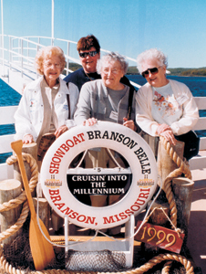 (l-r) Helen Welch, Kathy Petty, Marybelle Davis, and Ester Sipe during a vacation in Branson, Missouri.