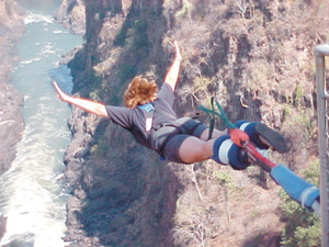 """I did another bungy jump in the afternoon. It was great-the highest bridge  used for bungy jumps in the world. The bridge was 216 meters high and the bungy cord stretched about 170 meters."" Victoria Falls, Zimbabwe, South Africa"