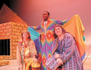 (kneeling l-r) Cast members Nathan Smith and Kerry Yingling. Standing in the coat of many colors is Kontrell Tyler from the Civic Theatre production Joseph and the Amazing Technicolor Coat. Don't miss this family musical.
