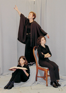 "photo by Cindy Cornwell In a scene from the Edwards Production ""Eleemosynary"" (l-r) Natalie Gudel portrays the granddaughter Echo, Beverly Rectenwald (flying) is Dorothea Wesbrook, and Emily Schwartz Keirns plays the daughter Artie Wesbrook."