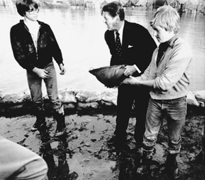 1982 File Photo courtesy of Fort Wayne Journal Gazette President Reagan helping kids sandbag in Fort Wayne during the flood of '82.  He gave residents a 'pep talk' convincing them that they would get past this.