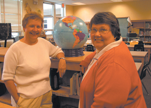 (L-R) Marsi (Meyers) Lawson and Mary (Bade) Detlefsen have been dear friends since they met as third grade students at Indian VillageSchool.  They are currently teaching at Indian Village.