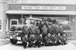 Wayne Township Volunteer Fire Department began in 1940s. James D. Mason helped to form the fire department in 1941 and made the first run with one-pumper unit. Picture taken April 30, 1967 (l-r): Kneeling-Bob Schrock, Dick Kaser, Bill Stark (Edward William), Jerry Harman, Boris Shurboff, Lee Guillaume, Herman Smith Back Row-Dave Fricki, Paul Reed, Gil Berghoff Middle Row-Jim Mason, Harry Stapleton, Leland Woods, Clyde Myers, Gil Kiefer, Charlie Miller, Ray DeClercq