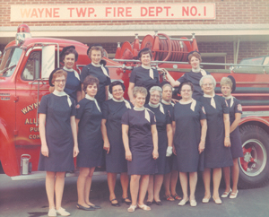 Photo provided by Doris Miller Wayne Township Volunteer Fire Department No. 1 Women's Auxiliary - circa 1965 Back Row (r-l): Barb Schrock, Irene Stark, Judy Kissinger, Doris Miller Front Row (r-l): Janet Yoder, Angie McCague, Lela Green, Jeanette Laisure, Audrey Prince,                    Betty   Reed, Doris DeClercq, Sue Stoner, Sue Harman Missing from photo: Catherine (Kate) Mason