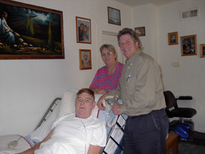 The Convalescent Shop provides a full range of respiratory products and services. (Above) Jeff Siples of The Convalescent Shop is at the home of Roger West on Old Trail Road providing care and assistance. Standing behind Roger is his faithful caretaker and wife Arlene.