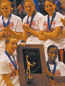 Photo by Joni Kuhn Lady Knights Recieve State Trophy  L-R Megan Padro, Vinnie Dawson, Kierra Burnett, Melanie Huhn, Sarah Freiburger and Monica Lomuller