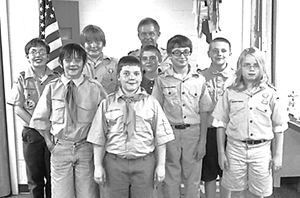 Photo by Kevin Shadle Pictured L to R:  Nick Phelps, Wesley Earling, Garrett Tomlinson, Drew Collins, patrol advisor Walter Pressler Jr., Isaac Magsam, A. J. Drummond, Dylan Haack, and Marshall Long.