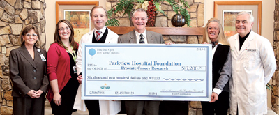 Parkview Research Center's Prostate Cancer Survivorship program received  proceeds from Blue Ball Open Golf Outing. L-R Rae Gonterman - Sr. VP Cancer Service, Sasha Carrasquillo - Parkview Foundation, Dr. John Crawford, Co-Chairs Kent Hormann and Cynthia Cornwell and Dr. Michael Mirro, Medical Director.