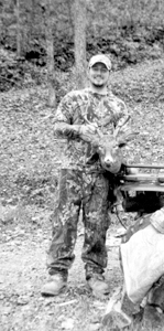 Billy Nunley, a member of the West Virginia Bow Hunters Association, displaying his 8-point buck from Ritchie County.