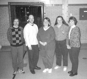 Pack 3030 Leaders (L to R) David Eisenhauer-Webelos II Den Leader, Doug Coe-Cubmaster, Mrs. Kim Sower-Tiger Cubs Den Leader, Mrs. Dian Steffen-Webelos I Den Leader, Mrs. Mary Davis Irwin PTA Treasurer
