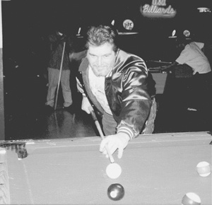 Below is Waynedaler Mike Willman lining up on the eight ball. Mike plays in (PLAYFAIR LEAGUES) Tuesday and Wednesday nights. Hobbies are riding his Harley Davidson and his favorite Pro Football team is the Indianapolis Colts. Mike owns a lawn care service.
