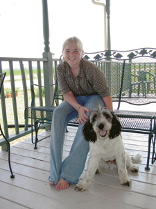 "Super Star 4-Her, Janeen Baxter with her dog, ""Harry"". 4-H Dog Show was held on Saturday, July 13th. Janeen's other projects include Woodworking, Crafts, and Collections."