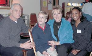 L-R Dan Ulrich (father), Max Ulrich, Cheryl Ulrich (mom), and F.O.E. Ladies Auxiliary President Madame Lawanda Vandall.