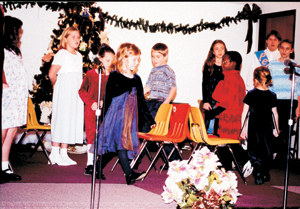 A game of musical chairs was part of a skit performed by the children of Liberty Mills Church of the Nazarene.