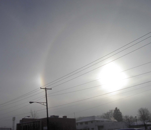 photo by rls I stepped outside The Waynedale News (looking  south) with a HP digital camera and snapped a couple of pictures of the Saturday Sundogs.  The halo was too big to get all in one shot, so I changed my position, shot one side and then the other.