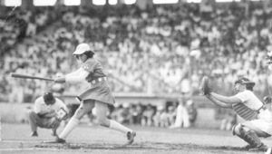 """photos provided by Isabel Alvarez Isabel at the bat during her baseball career playing with the Cubanas.  Watch the movie """"A League of Their Own"""" It was set in 1945 portraying the Fort Wayne Daisies."""