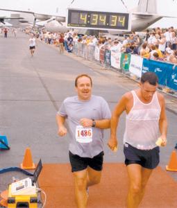 Jim Berghoff #1486 running the United States Air Force Marathon on September 21, 2002.