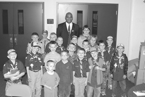Detective Wiley discussed safety with Waynedale area scouting troops on November 23, 2004, during  their meeting at Waynedale United Methodist Church.