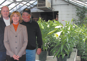 Dave and Trena Echenoz, 4th generation owners, along with 3rd generation owner Harold Dautz prepare for the Easter season.