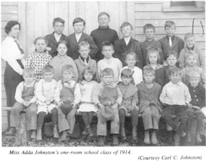 Miss Adda Johnston's one-room school class of 1914. (Courtesy Carl C. Johnston)