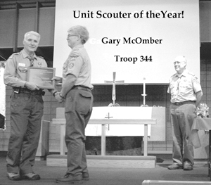"""The following Scouters were honored for their efforts on Sunday, February 20, 2005. Award of Merit-Bryan Lineberry, Bob Rainwaters, Betty Zimmerman Commissioner of the Year-Irv Arnold Committee Member of the Year-Kim Hollenback and Scott Guerrero Council Patch-Ken Wells, Joan Burnett, Eric Gehrig Scoutmaster of the Year-Tom Heber Cubmaster of the Year-Tim Nuehauser Den Leader of the Year-Marlene Fenstermacher, Barb Vlasek, Chris Werling Miami District Chief-Mike VanHorn, Tim Lawhead, Duane Moore, Jeff Law, Dan Salmon Miami District Princess-Barb Meyers Kerilynn Roby, Mary O'Claire, Susan Belville Spouse of the Year-Vicki Fox Unit Scouter of the Year-Sam Stokes, Serena Marczak, Gary McOmber, Teresa Magda, Tom Lilly, Betty Zimmerman, Michele Long, Todd Meyers, Doug Cooper And a """"special"""" Bald Beaver Award to Kevin Shadle"""