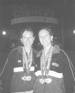 Lauren & Kristen Simpson, after competing in the Disney Relays, held this spring at the Walt Disney Wild World of Sports Complex.  Lauren won the 3000-meter steeplechase. The team of Valerie Hardesty, Kristen Simpson, Ashley Ritchey, and Lauren Simpson won the distance medley relay in a school record time of 12:40.72.  Although the team trailed most of the race, Lauren Simpson's anchor leg of 5:13 in the mile was just enough to overcome Florida Atlantic, which finished second.