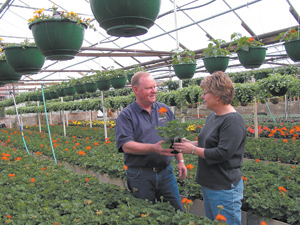 Doug Hackbarth, and his wife, Sandy have the greenhouses filled with color. The Hackbarth family purchased Broadview Florist and Greenhouses in 1957.