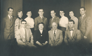 "Churchward Family circa 1954. (l-r standing) Bill, Lorraine (Hoss), Edna (Imel), Wilbur ""Webb"", Page, Susan (Vorich), Rita (Kendrick), James (l-r seated) Paul, Edna (Herber) (mom), Charles (dad), Eugene ""Jeep"" Deceased in 1935 Celia (Not in picture)"