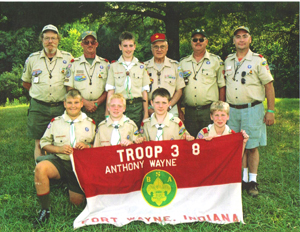 (Top Row – L to R) Assistant Scoutmaster Bill Lamb, Scoutmaster Jerry Lloyd, Scout Andrew McCune, Troop Advisor Richard Marshall, Assistant Scoutmaster Jim Fox, Committee Member Dan Jobe (Bottom Row – L to R) Scout Jameson Bush, Scout Josh Yoho, Scout Jason Cromwell, Scout Zack Howald