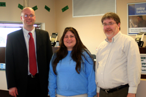 Left to Right:  Todd Mason (Branch Manager), Celia Peterson, Steve Nagy (teller).Missing from photo: Julie Sietz (teller).