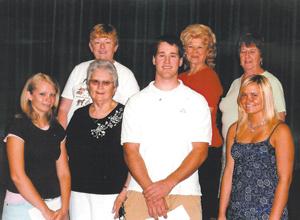 "Front Row:  Kathleen Wiegmann, Ruth  (Fousnought) Wiegmann, Chairman ""Class of '55"", Zebediah Moriarity, Jillian Lee. Back Row: Sue (Lantz) Diller Committee ""class of '64"", Sharon Scrogham, Antis representative, Sarah Rasor Manefee Committee ""class of '64"", (not present Richard O'Connor Committee ""class of  '54"")"