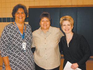 (L-R) Lois Widner, principal at St. Joseph-St. Elizabeth Ann Seton School, Jodi Jump, recipient of the award, and Lisa Fabian, the representative from the Notre Dame Club.