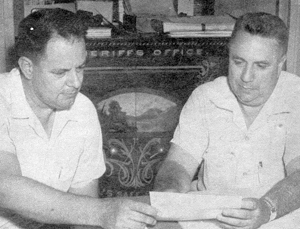 Detective Sergeant Arnold P. Lord & Lieutenant Harry Monn working over the baysunger case.